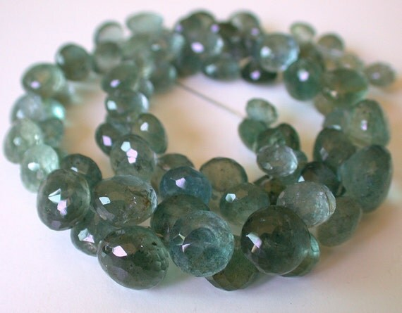 The Best Quality--Moss Aquamarine Faceted Onion Briolette Beads