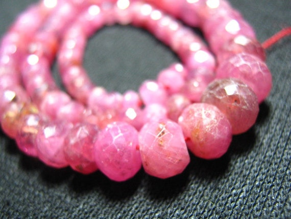 Full Strand- African Ruby Faceted Big Rondelle - 8 Inches
