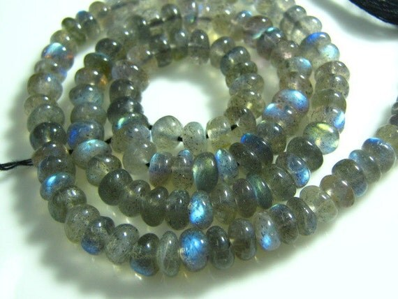 """FULL 14"""" Strand-Blue Fire Labradorite Smooth Rondelle - Size 5 mm"""