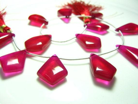 "Full 8""  Strand -Raspberry Red Quartz Smooth Tilak Briolette -Size 20x12-23x13mm"