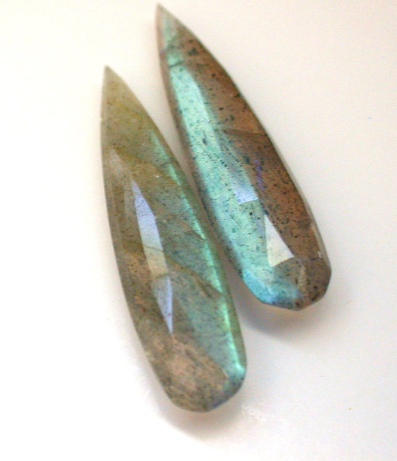 Extremely Beautiful Blue Fire Labradorite Faceted Long Pear Briolette Beads--30 mm long