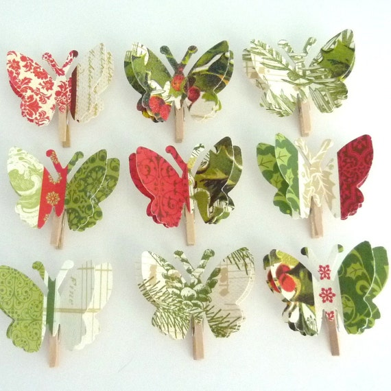 Decorative Paper Butterfly Memo Clips - Holiday - ready to mail
