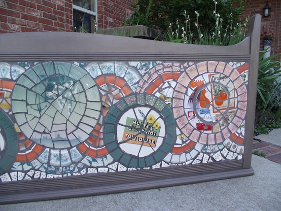 Mosaic Headboard - Art Sign - OOAK Vintage French Theme - RESERVED for heatherpmc
