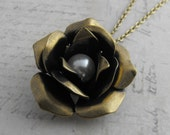 Tea Cup Rose with Pearl Necklace with Antique Brass Chain Vintage Style Jewellery