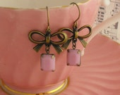 Antique Brass Bow Earrings with Pink Rectangular Drop Gold Vintage Style Jewellery