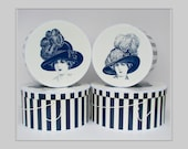 """Large Extravagant HISTORICAL MILLINERY CAMEO 14""""-18"""" x 8-9"""" Deep ~ Hat box ~ HatBoxes ~ Stack of Four (4 boxes)"""