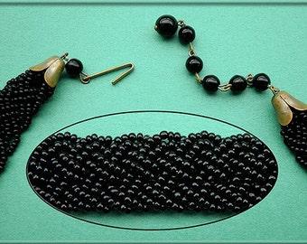 Antique Herringbone Weave Black GLASS BEAD CHOKER Necklace Mid-Century