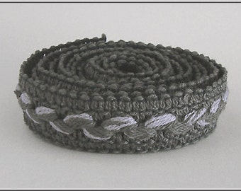 Antique HATTER MILLINERY Grey on Grey BAND Braid 1950s