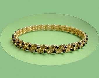 Vintage BANGLE BRACELET Black Glass and Gold Metal Beads WOVEN into the Design