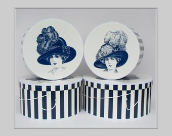 "Large Extravagant HISTORICAL MILLINERY CAMEO 14""-18"" x 8-9"" Deep ~ Hat box ~ HatBoxes ~ Stack of Four (4 boxes)"