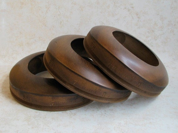 Antique DECO MODERNE Period Matched Set of 3 Hatters Wood BRIM Block Form Tools