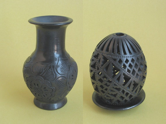 Mexican BLACK POTTERY Luminaria and Base SIGNED Dona Rosa plus Etched Oaxacan Vase