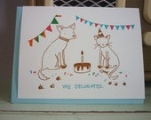Birthday Card - Gocco - Dog and Cat - We Decorated
