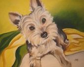 Pet Memorial Painting, Dog Portrait, Custom Pet Portrait Painting, custom size 8 x 10