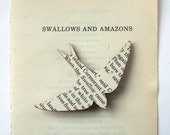 Swallows and Amazons - bird brooch. Classic book brooches made with original pages.