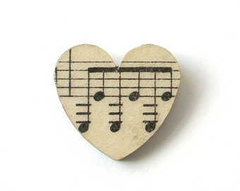Vintage music paper heart brooch - small
