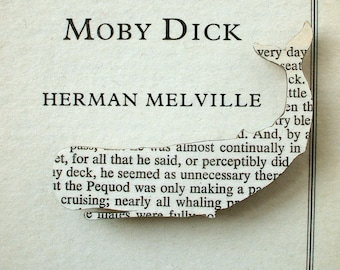 Moby Dick whale brooch - classic book page jewellery