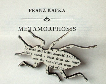 Franz Kafka - The Metamorphosis beetle brooch. Classic book brooches made with original pages.