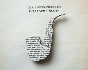 Sherlock Holmes - Pipe brooch. Classic book brooches made with original pages.