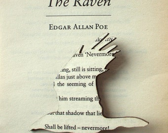 Poe - The Raven brooch. Classic book brooches made with original pages.