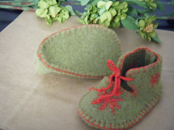 Felted Baby Booties Green with Red Hand Embroidered