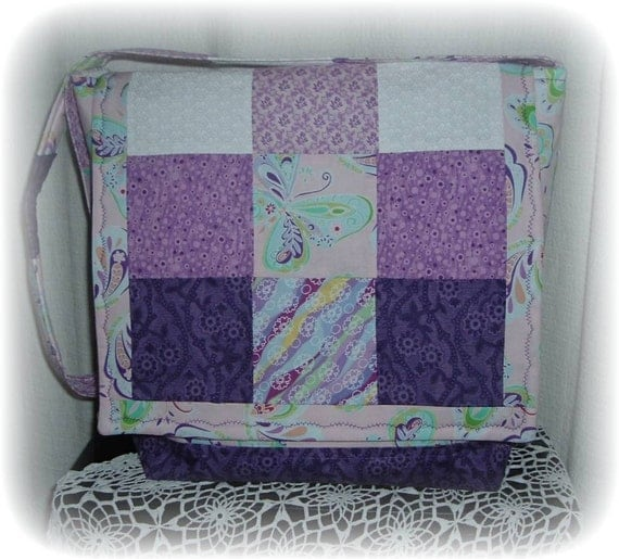 SALE Purple Butterfly Patches Diaper Bag Tote Bag - Unique one of a Kind Diaper Bag