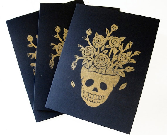 Black and Gold Flower Skull Cards