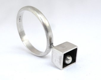 Cube Ring- sterling silver