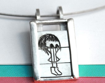 Muriel with her turtle neck t-shirt ...- Slider Pendant- sterling silver