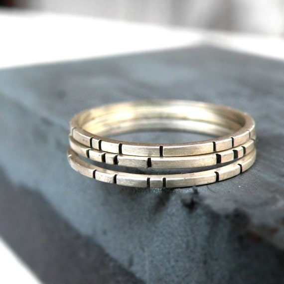 Three Bricks- Stackable Set of Rings-sterling silver