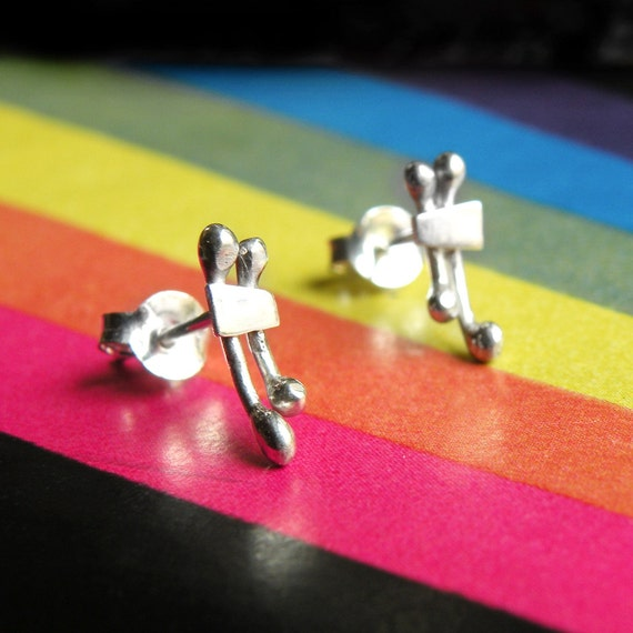 Tiny Double Line Earrings-sterling silver