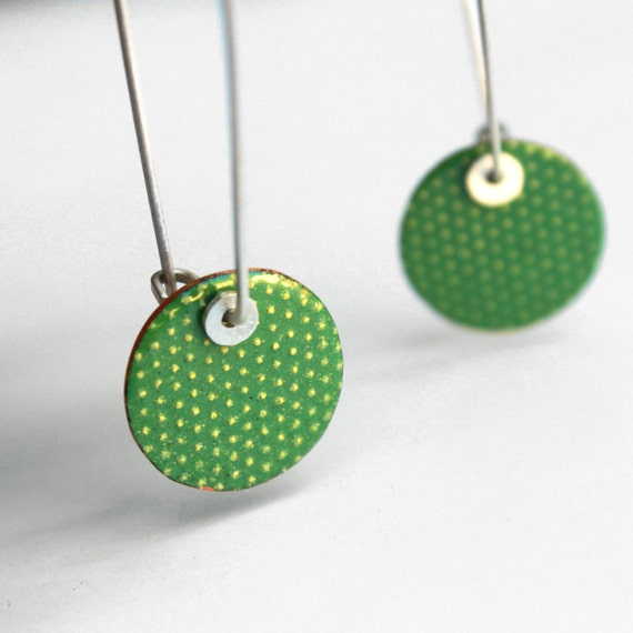 Long Cactus Skin Earrings- Green and Yellow - Sterling silver and copper
