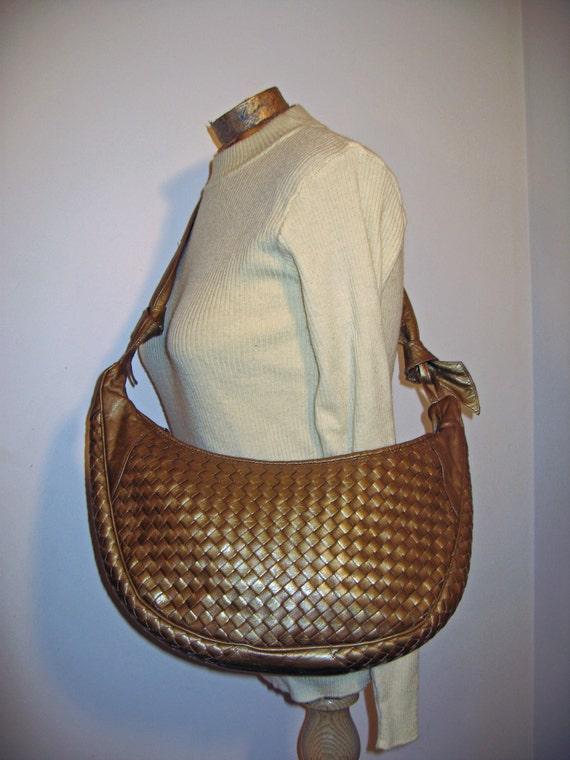 vintage 1980s bronze purse WOVEN leather bag