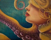 Return to the Depths Open Edition fine art print, octopus, siren, blonde mermaid, naiad