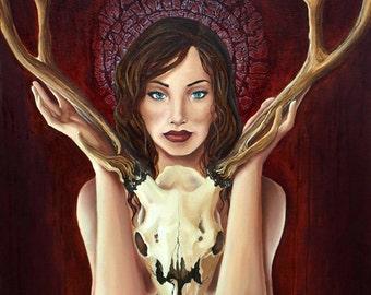 Radiant Decay Open Edition fine art print, skull woman, death goddess, stag skull