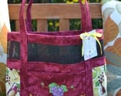 Tote Bag With Attitude - Embroidered Wine Grapes Glasses Fabric and Vinyl Mesh Tote