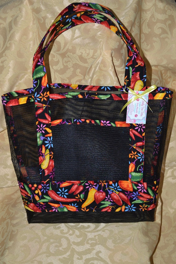 Vibrant Peppers Fabric And Vinyl Mesh Tote Bag