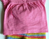 Pink shirt and sheepy shorts small shorties diaper cover soaker set. Rainbow colored REDUCED