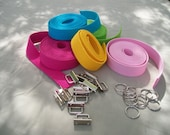 "50 sets 1.25"" key fob hardware and  20 yds. heavy cotton webbing - 45 GORGEOUS COLORS  Unbelievable Prices"