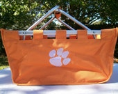 Large Clemson University Market Tote With Tiger Paw  ---  GO TIGERS