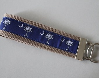 South Carolina Palmetto Tree & Moon Wristlet  Key Fob in Blue and White