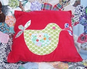 Applique Bird Cushion (pink)