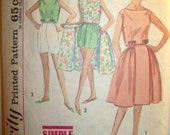 Vintage Simplicity Junior and Misses Top,Wrap-around Skirt, and Shorts Size 9