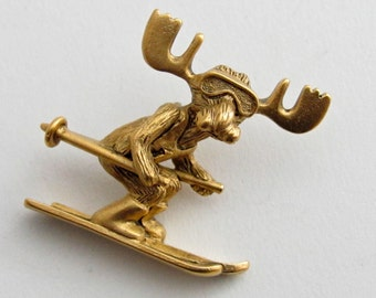 Markie Moose Ski tac pin gold finish