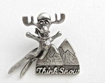Markie Moose Ski Think Snow tac pin pewter