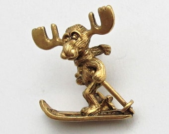 Markie Moose Ski tac pin gold finish