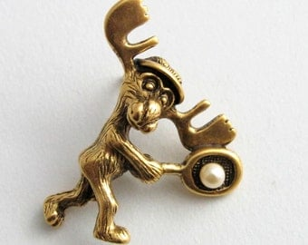 Markie Moose Tennis tac pin gold finish