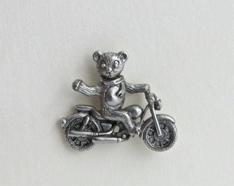 T Bear Motorcycle tac pin pewter V Twin biker bear