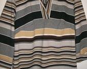 Vintage 70s Groovy gray multi Stripe shirt top M 36 38