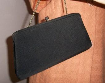 Sweet vintage 50s black chain handle purse handbag evening bag